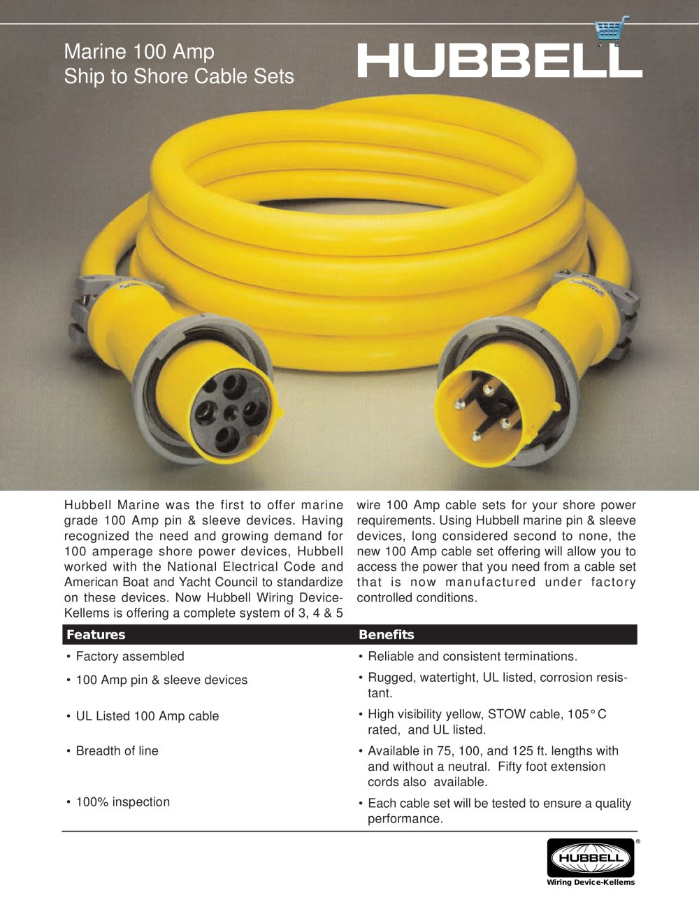 Marine 100 Amp Ship To Shore Cable Sets Hubbell Pdf Catalogues Extension Cord 20a 250v Wiring Diagram 1 2 Pages