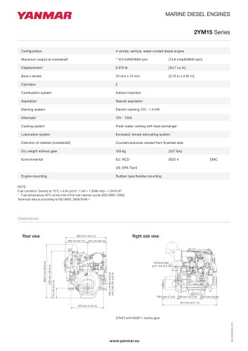 Specification datasheet - 2YM15