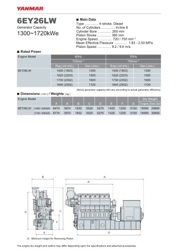 Specification datasheet - 6EY26LW