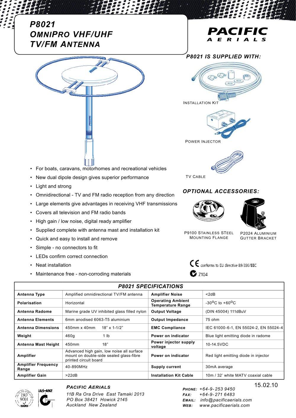 Uhf Vhf Antenna Wiring Diagram Schematics P8021 Omnipro Tv Fm Pacific Aerials Pdf Radio Ham
