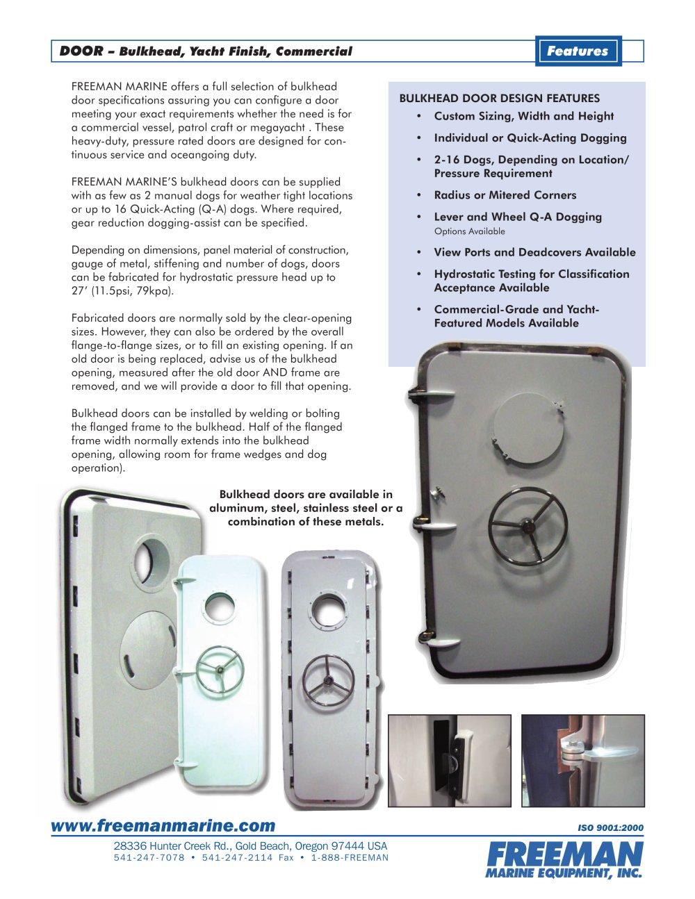 BULKHEAD DOORS - 1 / 2 Pages  sc 1 st  Catalogues Nauticexpo & BULKHEAD DOORS - Freeman Marine Equipment - PDF Catalogues ...