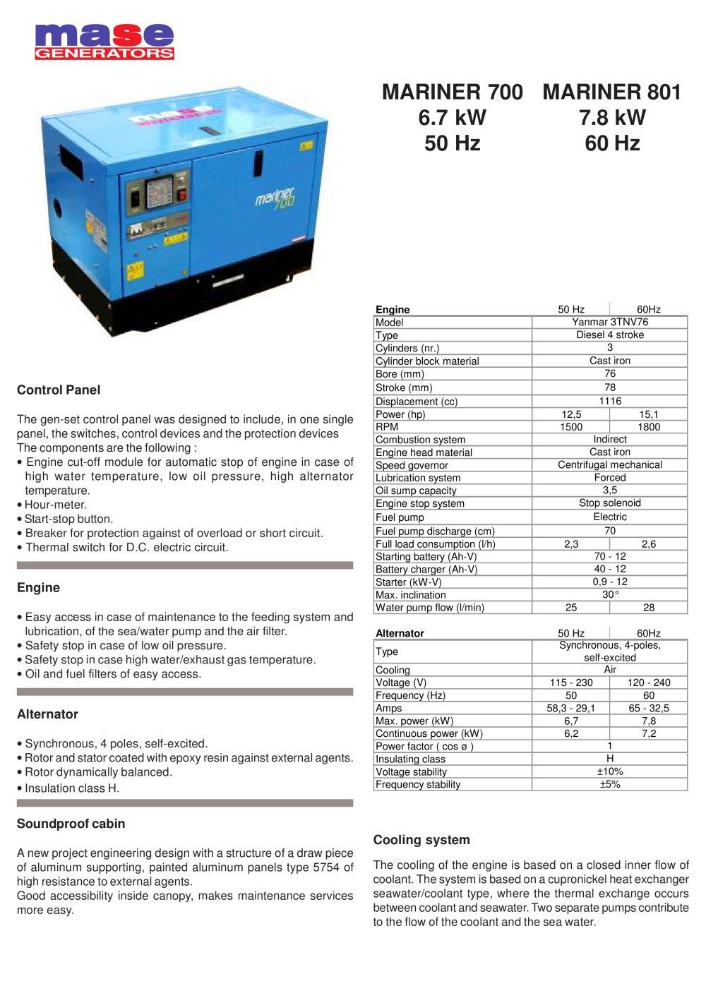 Mariner 700 801 Mase Generators Pdf Catalogues Yanmar 1500 Engine Diagram 1 2 Pages