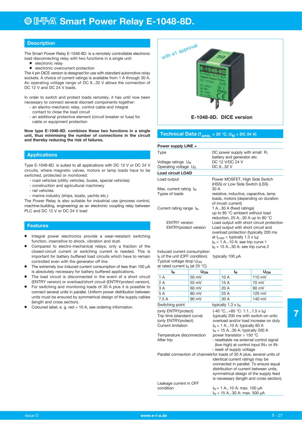 E 1048 8d T A Elektrotechnische Apparate Pdf Catalogues Relay Current Rating 1 3 Pages