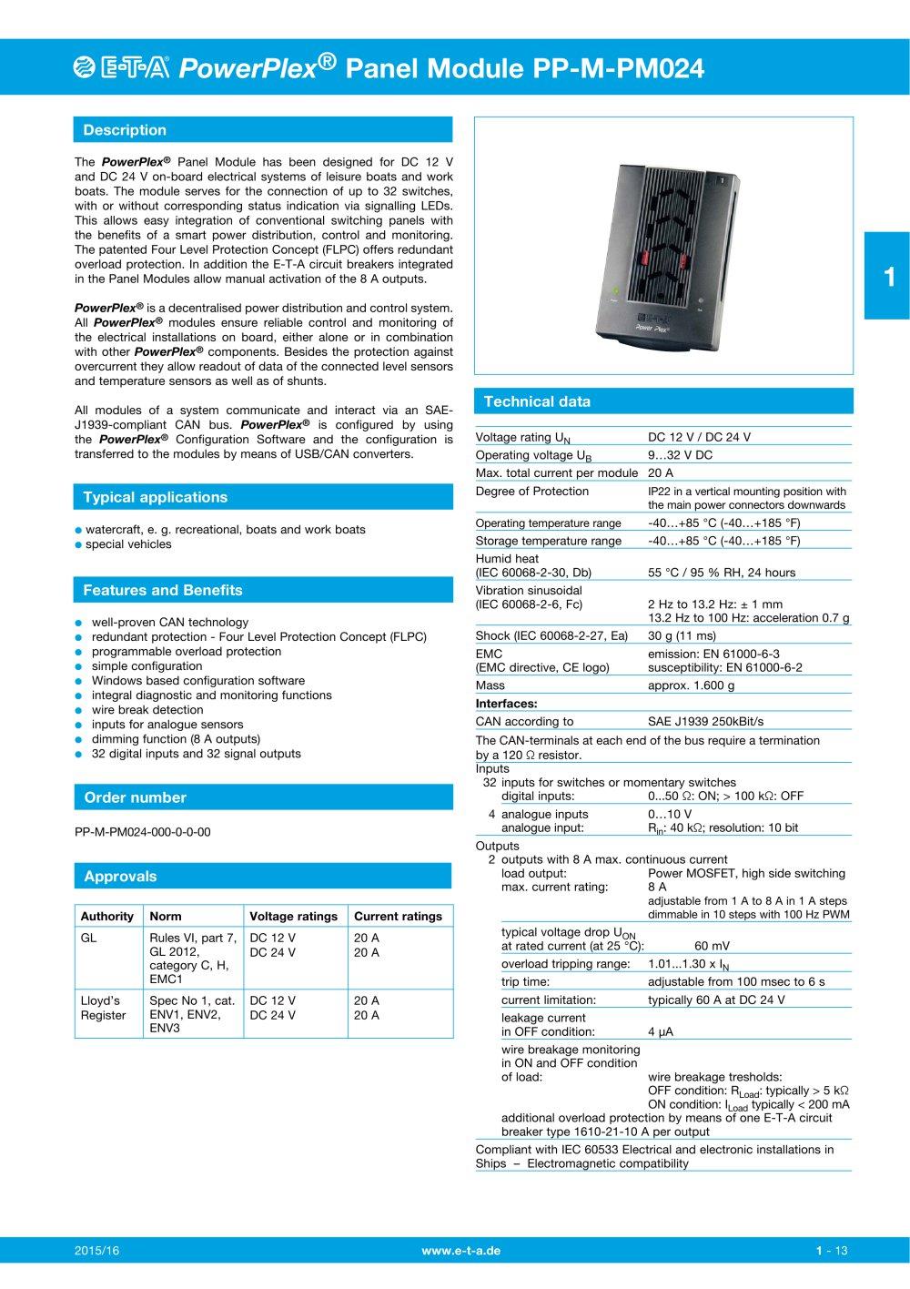 PP-M-PM024 - E-T-A Elektrotechnische Apparate - PDF Catalogs