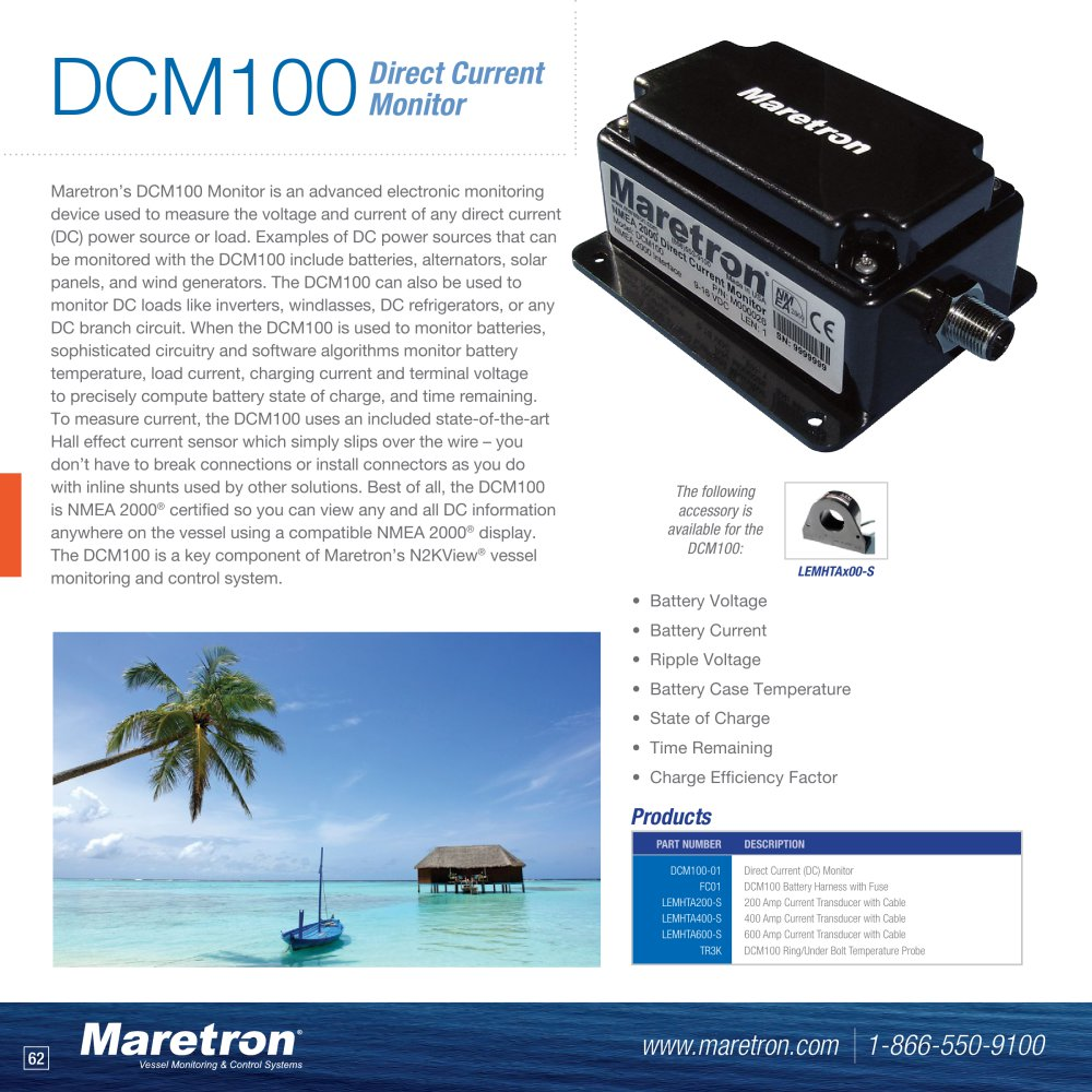 Dcm100 Nmea 2000 Direct Current Monitor Maretron Pdf The From A Battery Is 1 2 Pages