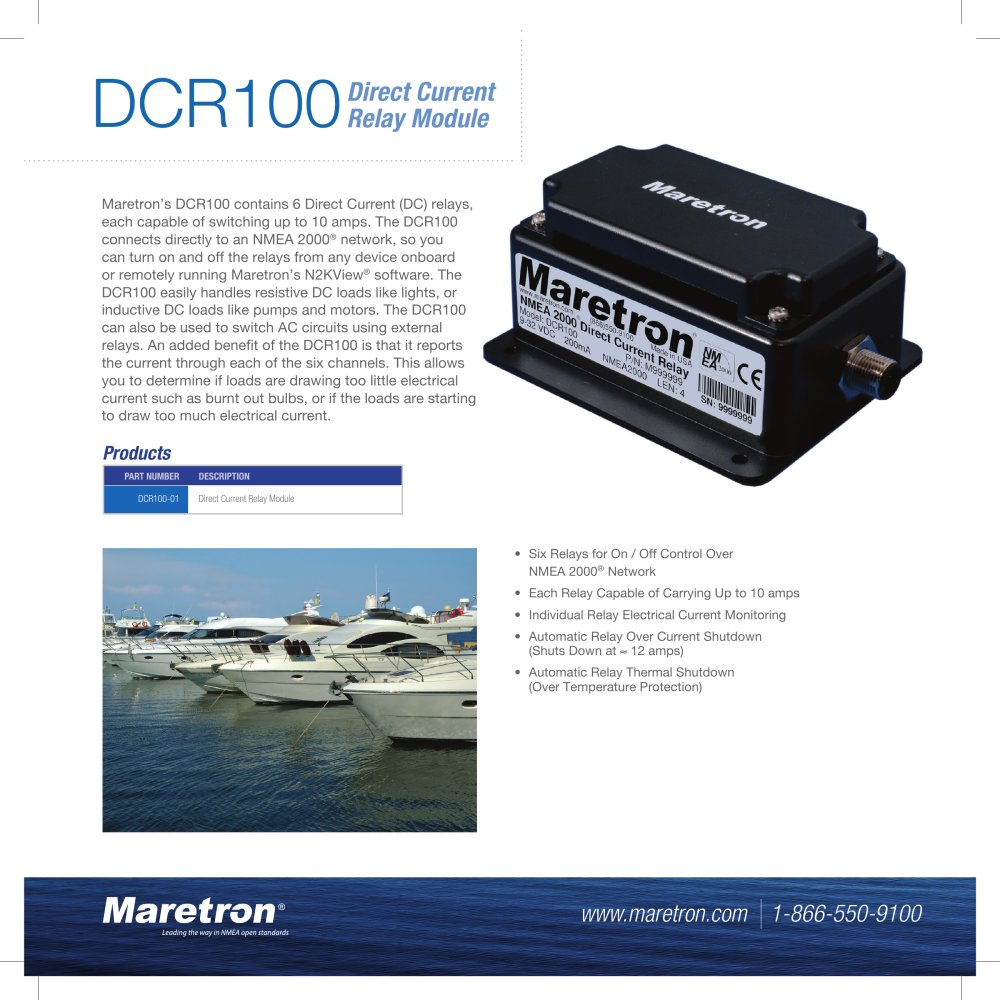 Dcr100 Data Sheet Maretron Pdf Catalogues Documentation Under Current Relay 1 2 Pages