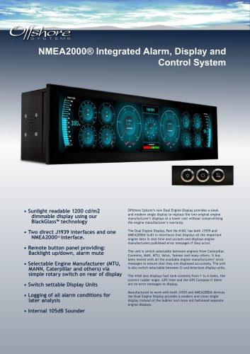 NMEA2000® Integrated Alarm, Display and Control System