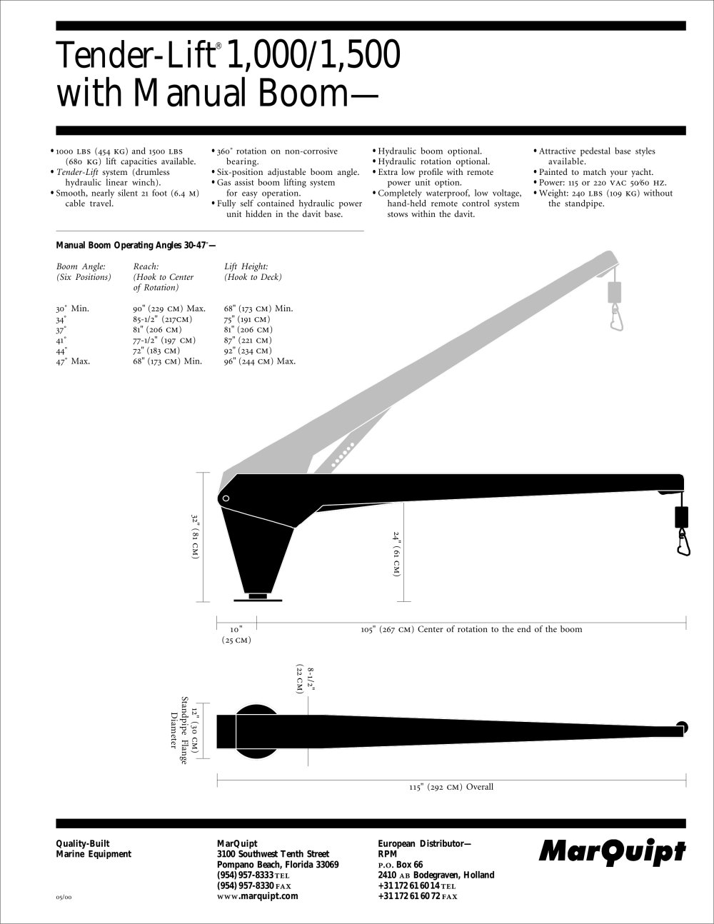 Tender Lift 1000 1500 With Manual Boom Mar Quipt Pdf Gas Schematic 1 Pages
