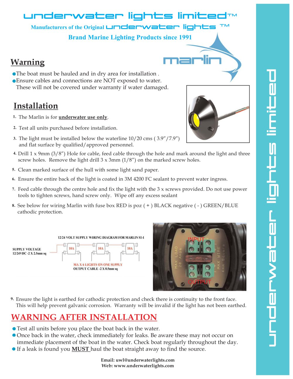 Marlin Surface Mount Led Underwater Lights Limited Pdf Cathodic Protection Wiring Diagram 1 2 Pages