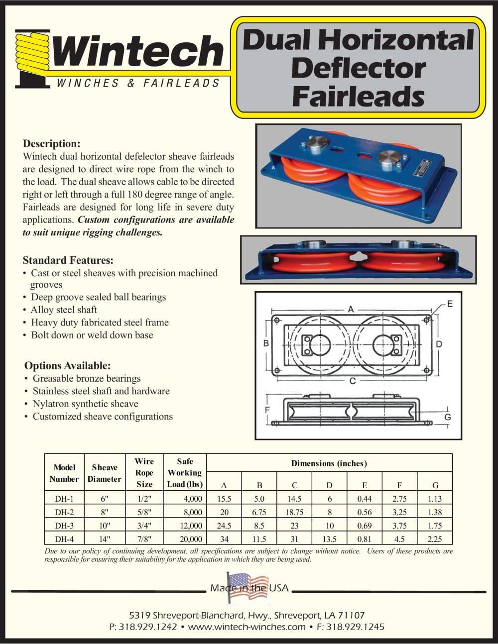 Dual Horizontal Deflector Fairleads - Wintech International LLC ...