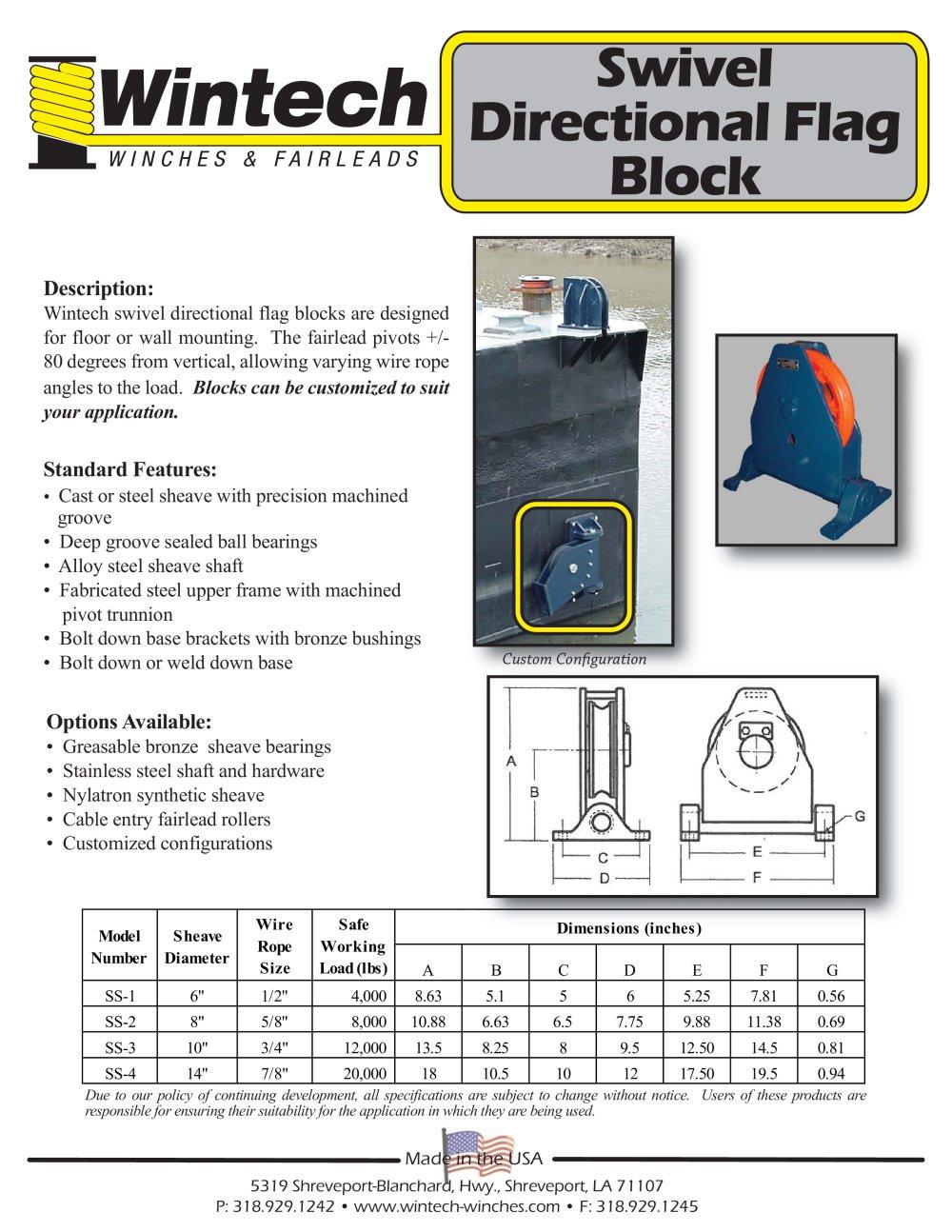 Swivel Directional Flag Block - Wintech International LLC - PDF ...