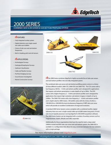 2000 series COMBINED SIDE SCAN SONAR & SUB-BOTTOM PROFILING SYSTEM