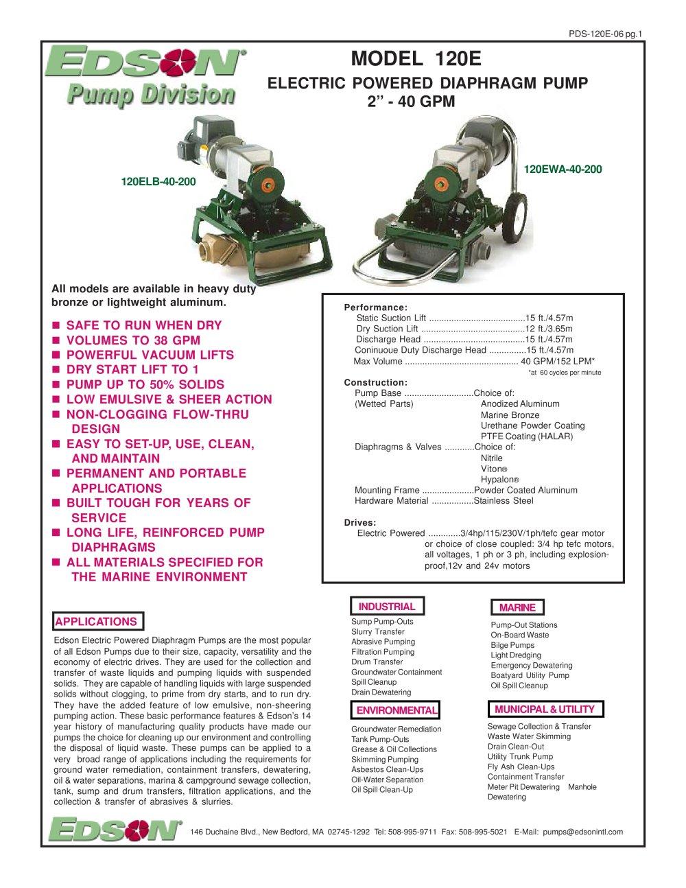 120e electric powered diaphragm pump edson international pdf 120e electric powered diaphragm pump 1 2 pages ccuart Gallery