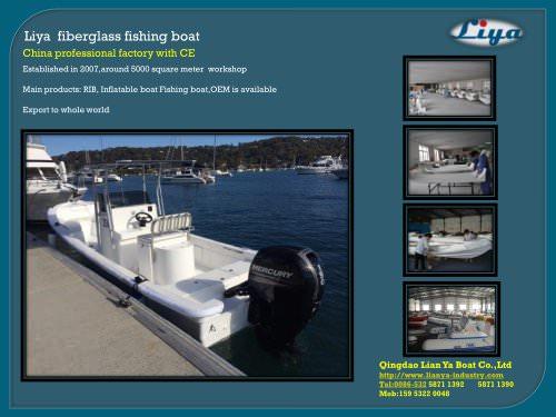 Liya fiberglass fishing boat