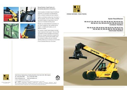ReachStacker - Hyster - PDF Catalogs | Documentation | Boating Brochures
