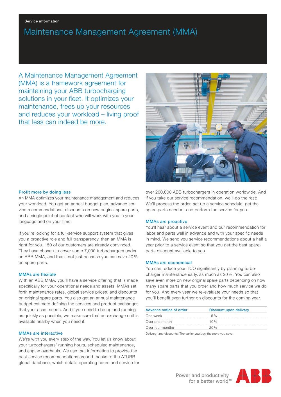 Mma maintenance management agreement abb turbocharging pdf mma maintenance management agreement 1 2 pages platinumwayz