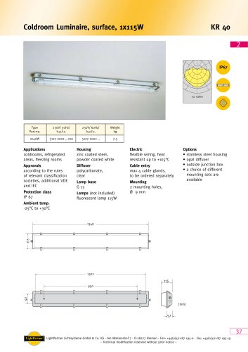 indoor ceiling-mounted luminaire for ships<br>(cold room)