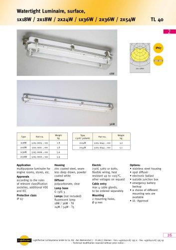 TL40 - Watertight Luminaire, surface  1x 18 W / 2x 18 W / 2x 24 W / 1x 36 W / 2x 36 W / 2x 54 W