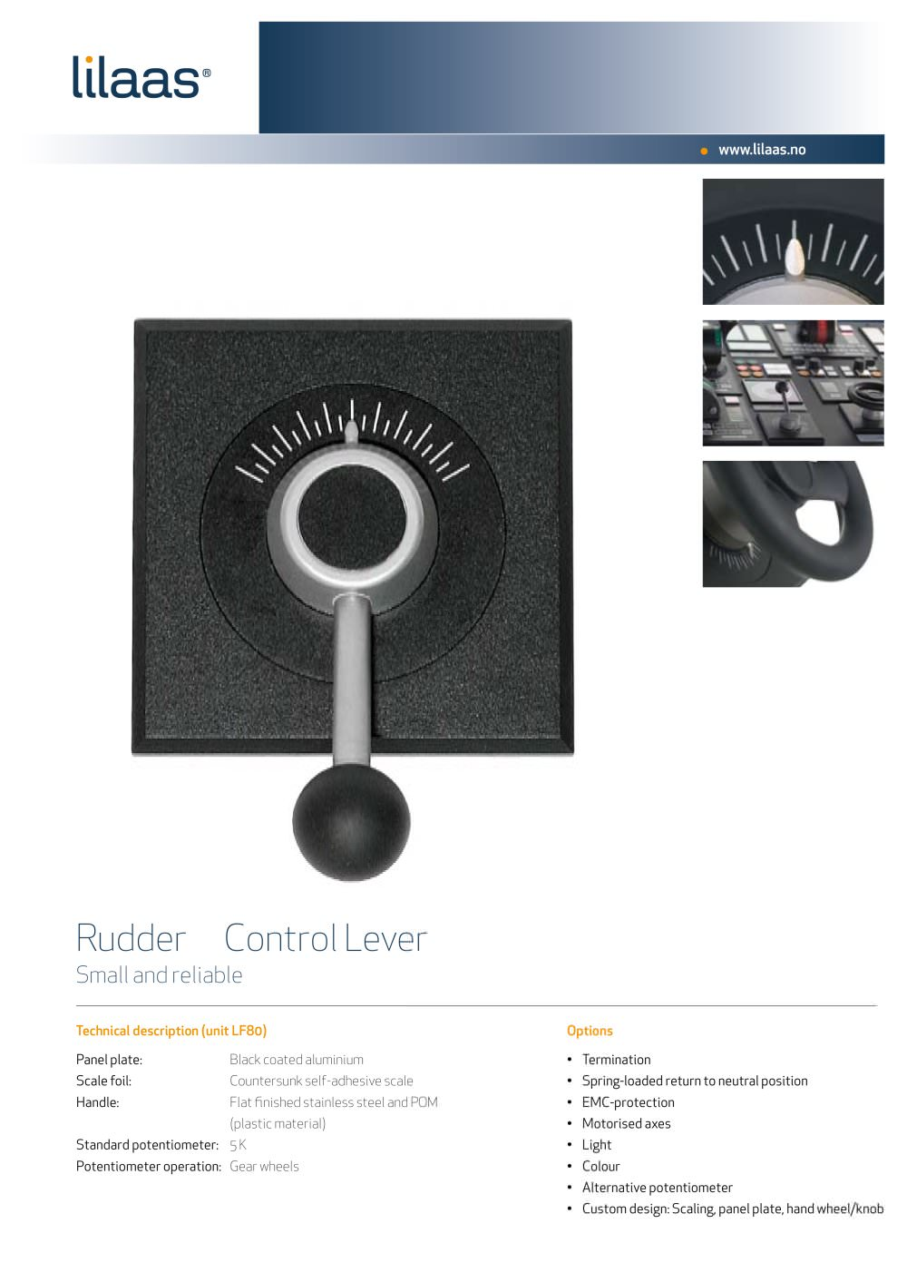 follow-up rudder control handle for ships LF80 - Lilaas - PDF ...