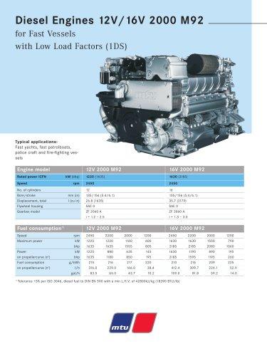 MTU Diesel Engines 12V/16V 2000 M92 for Fast Vessels with Low Load Factors (1DS)