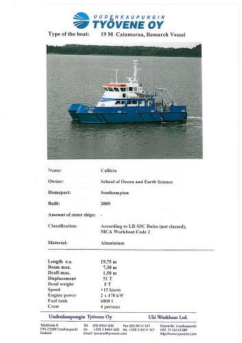 Callista19m catamaran