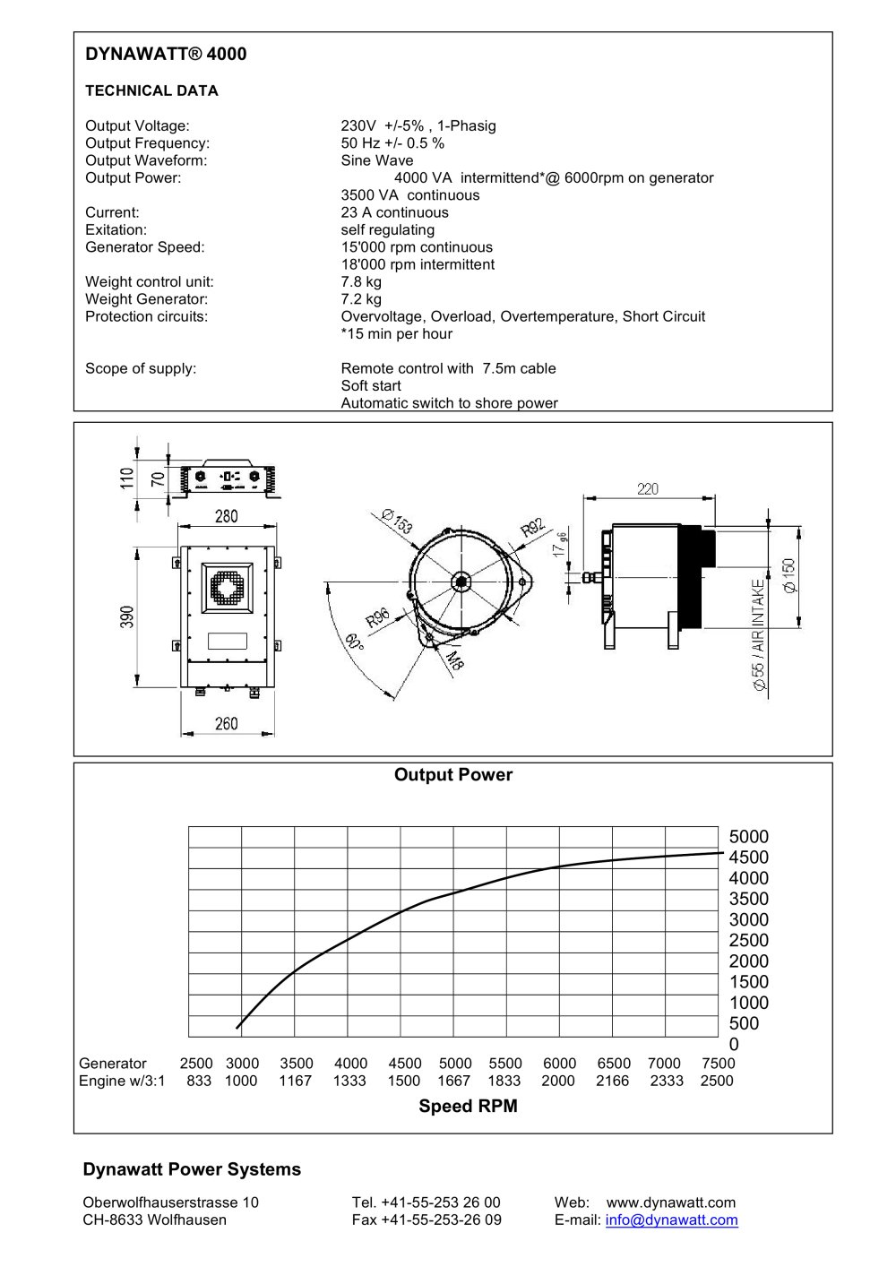 Dynawatt 4000 Pdf Catalogues Documentation Boating Generator Short Circuit 1 Pages