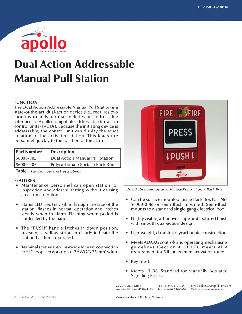 Polycarbonate Pull Station Apollo Fire Detectors Pdf Catalogues Addressable Smoke Detector Wiring Diagram 1 2 Pages
