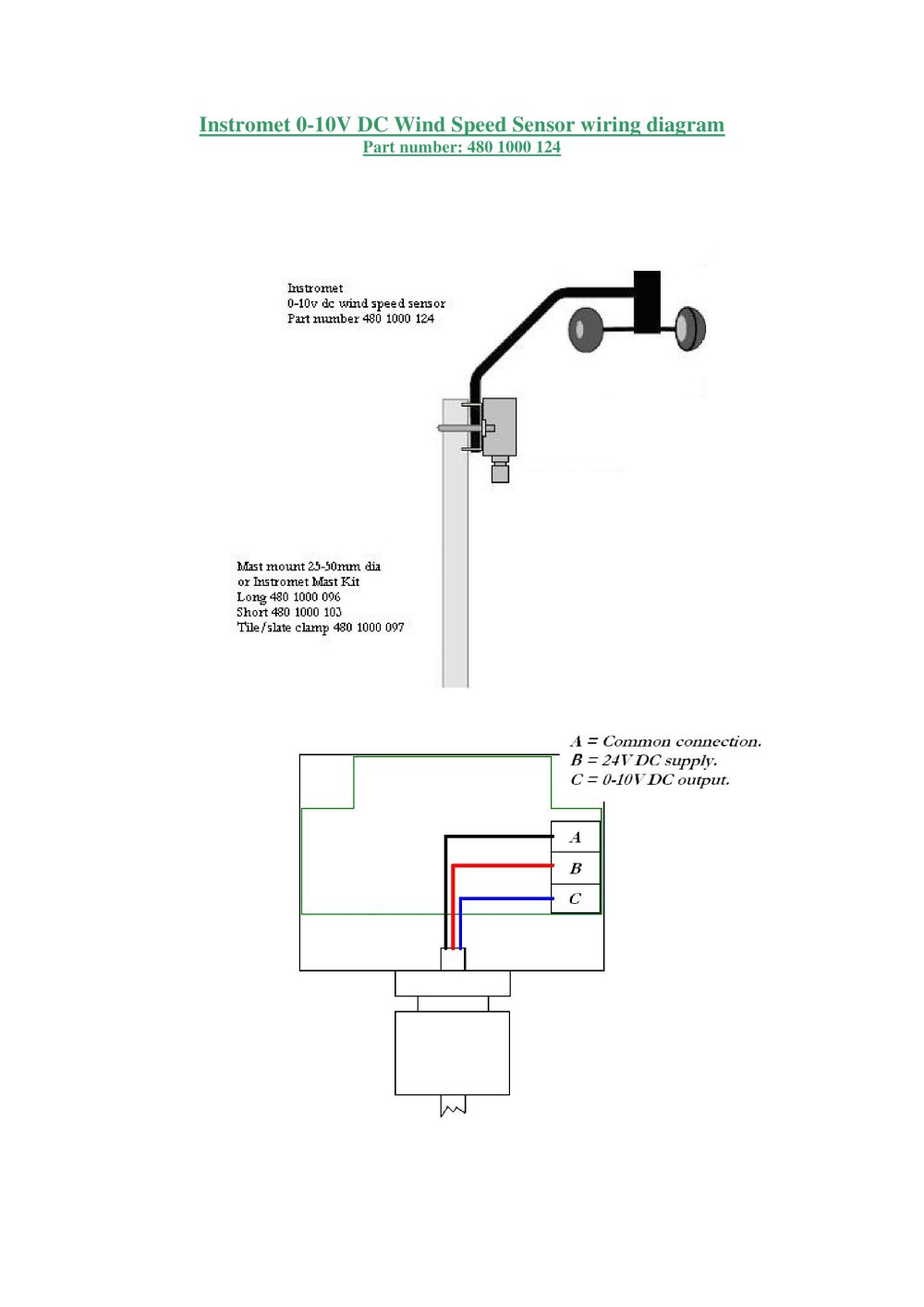 Instromet 0-10V DC Wind Speed Sensor wiring diagram - 1 / 2 Pages