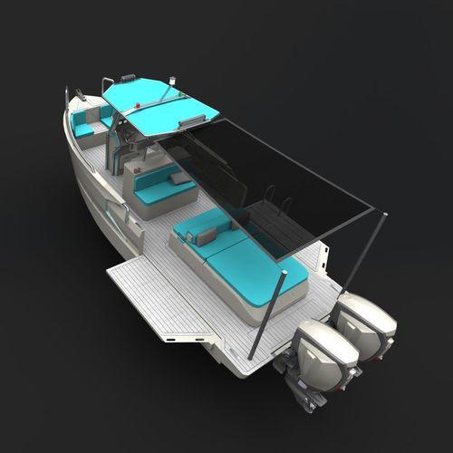 lancha de proa aberta com motor de popa / bimotor / com console central / de wakeboard