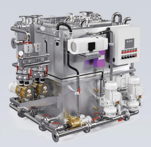 sistema de tratamento de águas residuais / para navio / biológico / sob vácuo