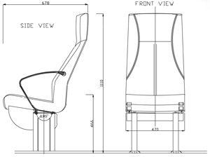 assento para navio de passageiros / com braços / com encosto alto / de 2 lugares
