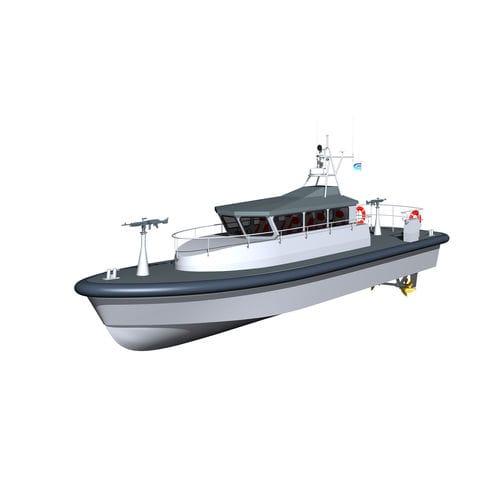 barco-patrulha / com motor de centro hidrojato