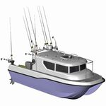 barco de trabalho catamarã / com motor de popa