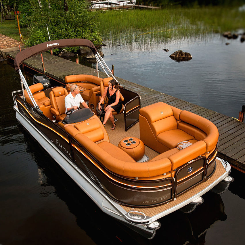 Outboard Pontoon Boat Tri Tube 18 Person Max 20 Person Max Intrigue Rf Premier Pontoons