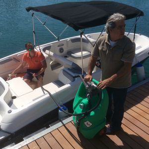 fuel tank / for boats / portable / with transfer pump