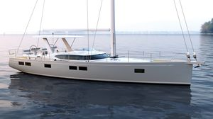 cruising sailing yacht / classic / open transom / with 3 or 4 cabins