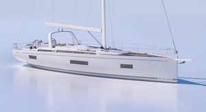 cruising sailing yacht / open transom / 3-cabin / twin steering wheels