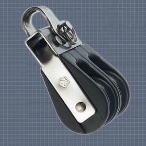 ball bearing block / double / with fixed head / max. rope ø 6 mm