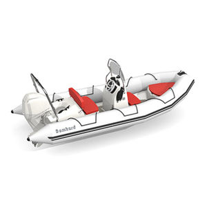 outboard inflatable boat / rigid / side console / open