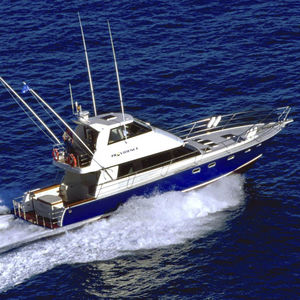 sport-fishing motor yacht / with enclosed flybridge / composite / planing hull