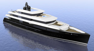 cruising mega-yacht / wheelhouse / steel / vertical bow