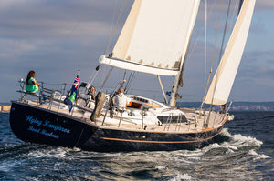 cruising-racing sailing yacht / open transom / 5-cabin / twin steering wheels