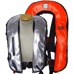self-inflating life jacket / 170 N / with safety harness / fire-retardant