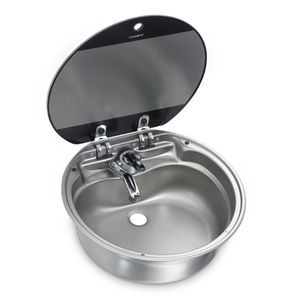 round sink / stainless steel / for boats / with glass lid