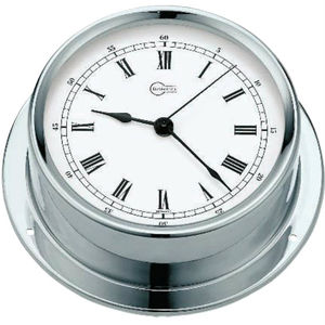 analog clock / chrome / brass