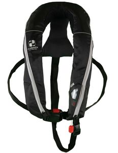 self-inflating life jacket / 165 N / with safety harness