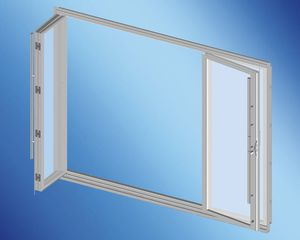 boat door / with glass panel / stainless steel