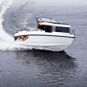 outboard cabin cruiser / with enclosed cockpit / fishing / offshore