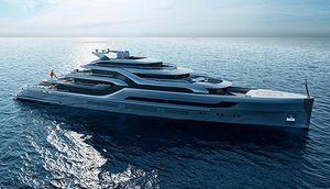 cruising mega-yacht / raised pilothouse / with swimming pool / with helideck