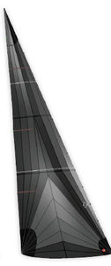 headsail / for racing sailboats / tri-radial cut / polyester